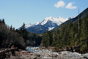 Majestic Mountains. Drive to Ocean Mist Guesthouse, Highway 4, Ucluelet, BC